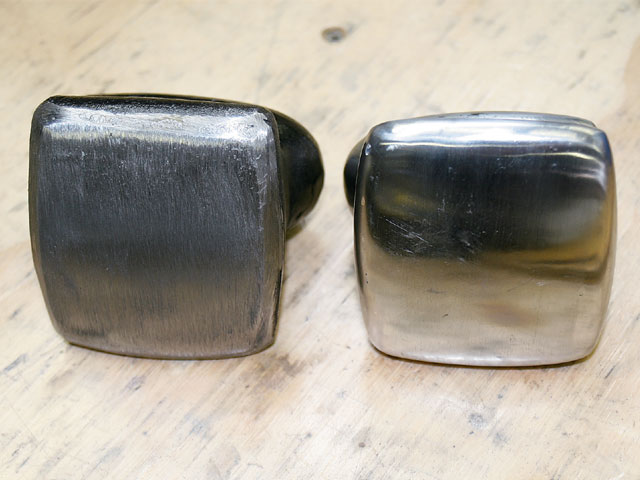 On the left is a dolly fresh from the grinder, while on the right is a correctly prepped dolly with a smooth convex surface and mirror-like finish.