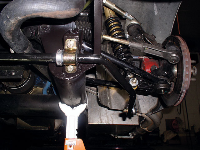 Pictured is the driver-side VPM sway bar. You can adjust the bar's end links and the position the end link is connected to the bar to increase stiffness. We immediately felt this addition; it had a profound positive effect in the handling department.