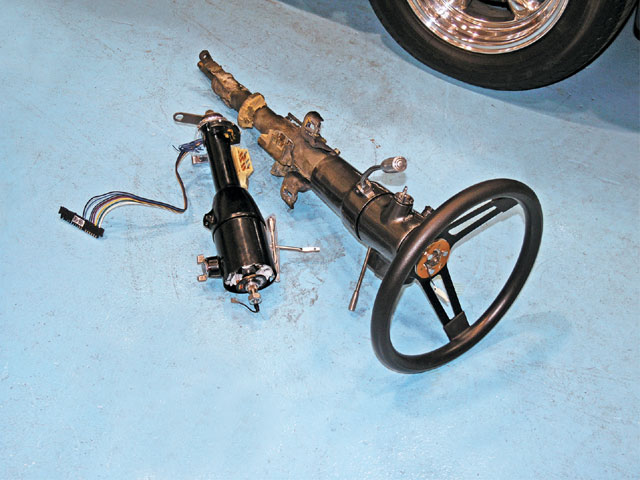 To free up some room under the dash, the GM full-length tilt column was being replaced by a 17-inch Flaming River Micro Tilt column equipped with the ignition and shifter. The steering wheel would also be replaced with a banjo wheel during the swap.