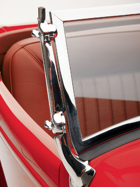 The reproduction windshield is chopped 2 inches and features stainless steel stanchions and hardware, and a chrome frame.