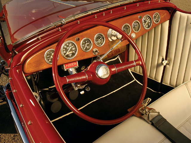 Juri made the Gun sight's dash from a plank of Philippine mahogany. It boasts a treasure trove of curved-glass stewart Warner gauges, but its priceless element is the dash plaque that commemorates Juri's 1952 Bonneville run.