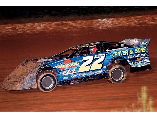 Eventual feature winner Chris Ferguson coming through Carolina Speedway's turn two in a mid-september Fastrak event. Big Mack