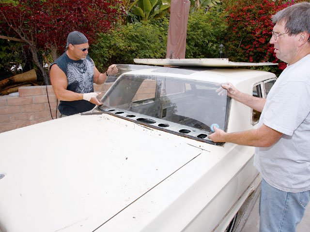 Mechanic Ralph Straesser was a big help during teardown, and his roll is just beginning. With the exception of the windshield, all of the glass was in excellent shape and will be reinstalled.