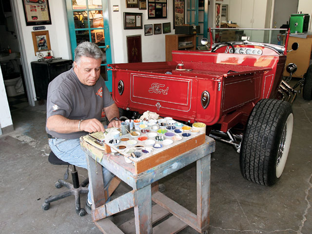 Phil Whetstone of Miracle Design applied the pinstriping of which there is a copious amount keeping the roadster pickup in touch with its heritage.