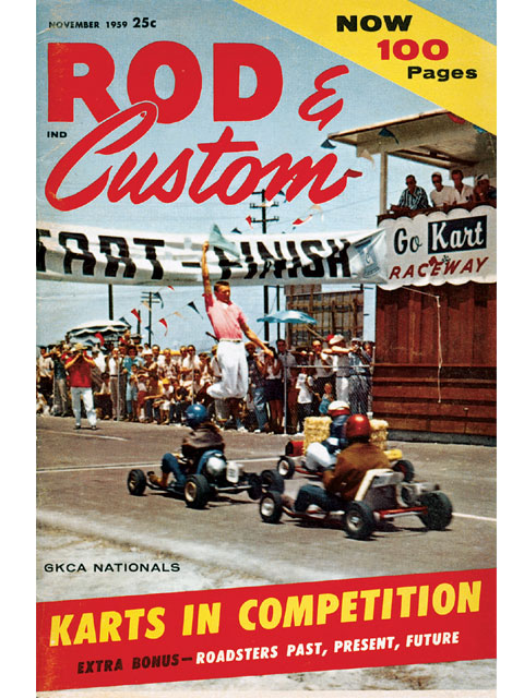 R&C's Nov. '59 issue featured the action from the first GKCA Nationals in Azusa, CA. That's Faye Pierson (Second Place finisher in A Class) in the pole position, with Dick Conners on the outside pole to her right, and A Class winner Jimmy Yamane behind her. All three were on hand at the VKA Reunion in Riverside, CA, almost 50 years later.