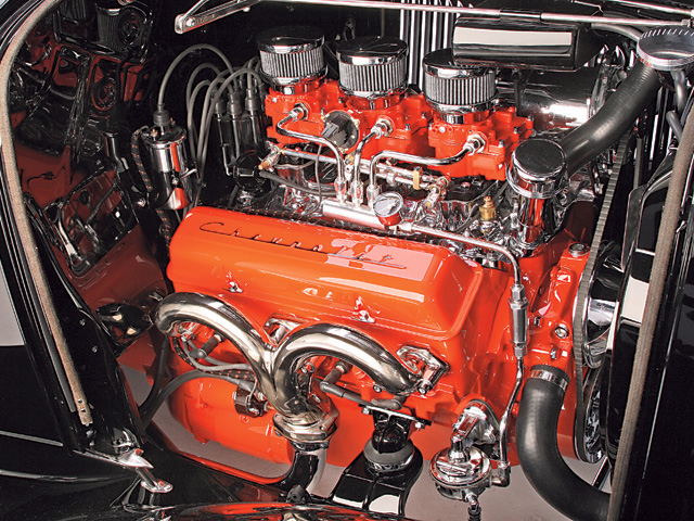 In itself, there's nothing exceptional about a Chevy Orange engine with tin valve covers, but there is when it's in a car of this caliber. Aside from manifolds, a whole bunch of detailing, and a few internal parts, this large-journal 327 looks as if it met this car the day it came out of its donor. In an era of whiz-bang stuff, stock pieces like old Packard 440 ignition wires, cloth loom, and ordinary 2G carburetors are refreshing.