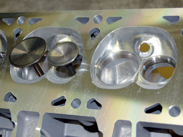 While these valves and head are off the NASCAR Spec engine you can see how they have been enlarged.