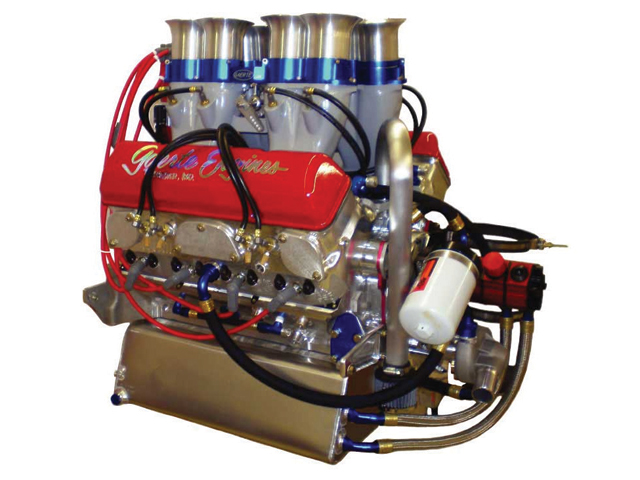 This fire breathing 410 sprint car engine runs on alcohol. Notice the organ pipe style injectors.