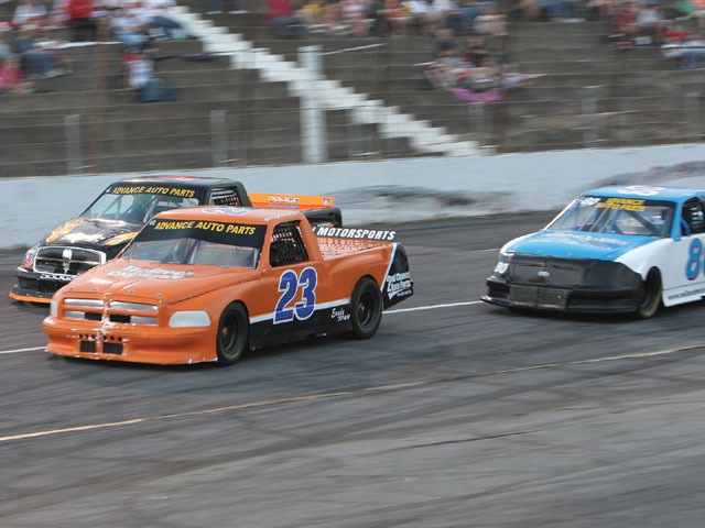 Trucks racing at Hickory Motor Speedway, a track taking an innovative approach to crates. Photo by Jeff Huneycutt