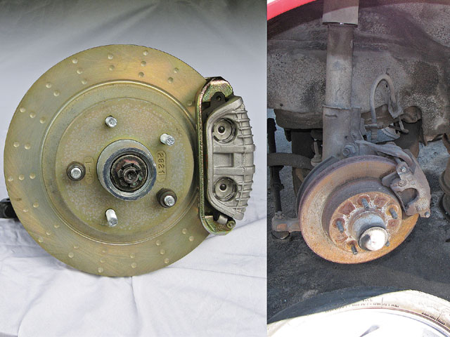 Even the GTAs have the standard 10.5-inch brake rotors and single-piston calipers (right), which are adequate in stock form. Only the rare '89 Turbo T/As and the 1LE (factory road race) cars were upgraded to the 11.85-inch front rotors and twin-piston calipers. With the rarity of these parts, we suggest investigating new component upgrades from Hawks Third Gen or the C4 Corvette adapter kit offered by Ed Miller (left).