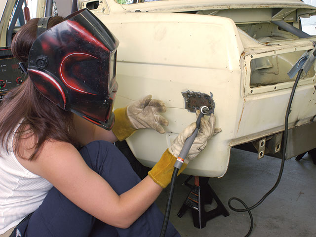 Yes, the girl can TIG-weld, and has her own Lincoln Electric unit in her garage. Here she is putting the smooth to a Datsun 510 sedan that is being built as a killer street car with a late-model Nissan drivetrain.