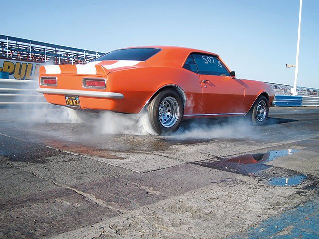 With slicks, the Camaro runs mid-12s at 108-plus, corked up. Liz granny-shifts the M-20 at 5,200 rpm with outstanding consistency: This is one stick car whose e.t.'s rarely vary more than a few hundredths. It also has a half a dozen final-round appearances to its credit, though Liz still seeks her first bracket win.