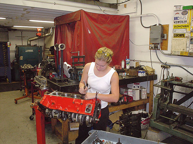 Liz has earned shop privileges at Robello Racing (Antioch, California), where she assembled her third Mouse motor since acquiring the Camaro.
