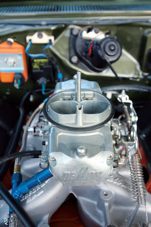 A Speed Demon 750 from Barry Grant calls the Edelbrock Performer RPM intake atop Tyler's 440 home.