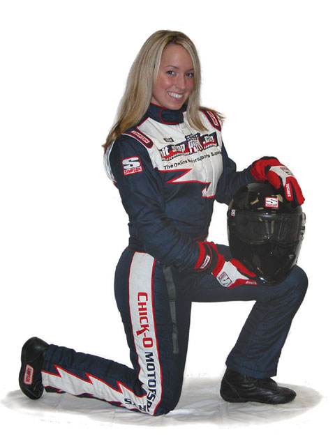 Alissa's arsenal of safety equipment includes a custom-made, multilayer firesuit, a top-of-the-line helmet, fire-retardant gloves, shoes, socks, and Carbon X underwear, all of which is SFI-rated.