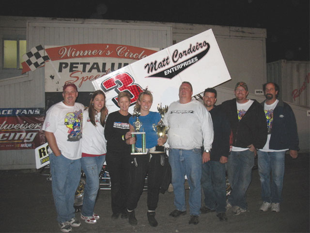 Alissa and her family celebrate that first win at Petaluma on July 18, 2007.