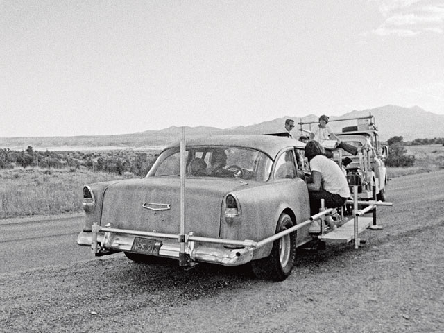 Here's the camera rig that was set up to shoot the actors inside the '55. While pitching the movie to MGM, Hellman was told it would be boring because it was all shot in a car, so he provided a diagram that showed how he could shoot 24 different angles inside the car.