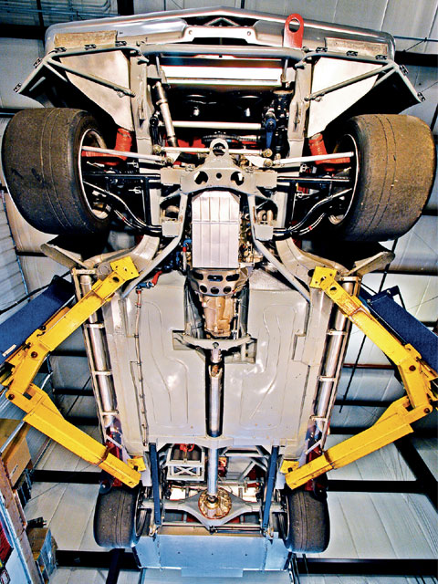 Here's a view that competitors never get to see. The front and rear suspensions are custom and the floorpans are fabricated sheetmetal. Don says 50 percent of the work into the GTO can be seen from this photograph alone.