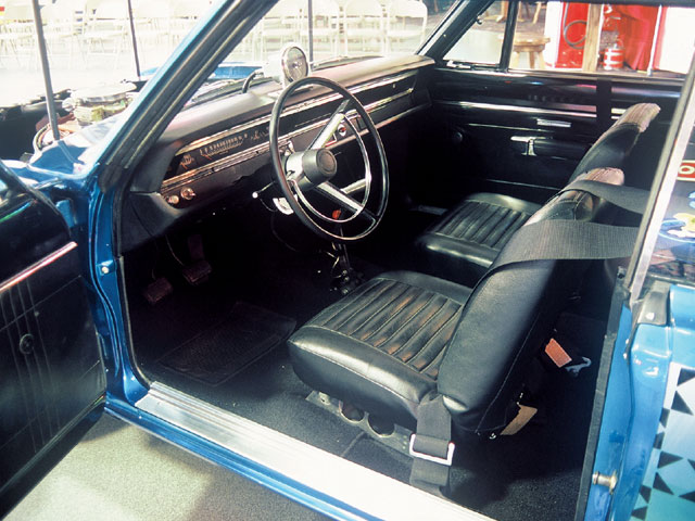 The interior was brought back to '68 race specs, including the shifter that Larry had laying around his shop.