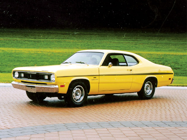 The new Duster coupe body was unveiled for 1970, replacing the boxtop Valiant sedan. The Duster 340 included a High-Performance LA-series V-8 that first saw A-Body duty in 1968.