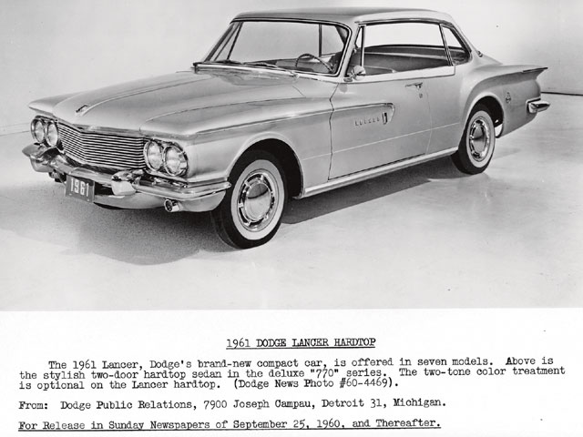 For 1961, the Valiant moved into the Plymouth lineup, and Dodge got its own version-the Lancer. Both lines offered two-door sedan and hardtop models that year, and an optional aluminum block for the Slant Six.