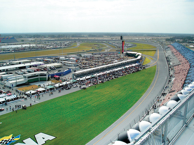 This is the view atop the spotters' tower at Daytona before the 2005 24 Hours of Daytona race. I can see my car at nearly every point on the race track from up here, and I cannot take my eyes off the car or I lose it. At night it is even worse. This year I did the 12:30 a.m. to 6:30 a.m. stint, and it rained all night. You've gotta love it to do it. Photo by Jim Jones