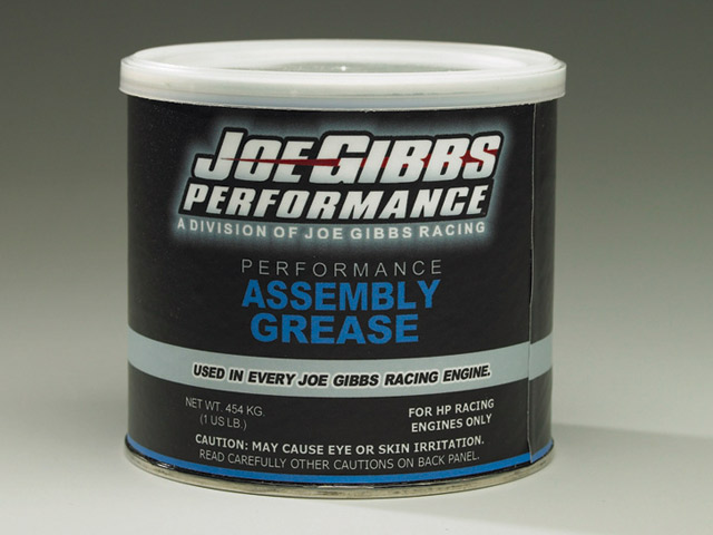 Like many performance oil manufacturers, Joe Gibbs Racing Oil makes an assembly grease designed to work in concert with their break-in and racing oils. Photo by Joe Gibbs Racing