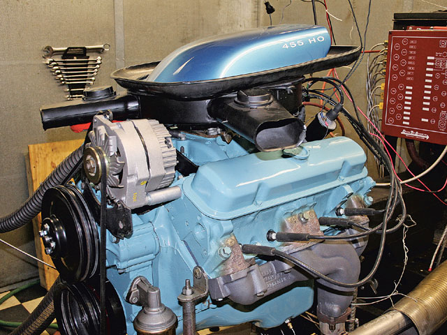 This 455 H.O. engine on the dyno is destined for a T/A. Notice it has the air cleaner and Shaker in place, as well as the engine-driven accessories to better replicate the actual power that will be produced in the car.