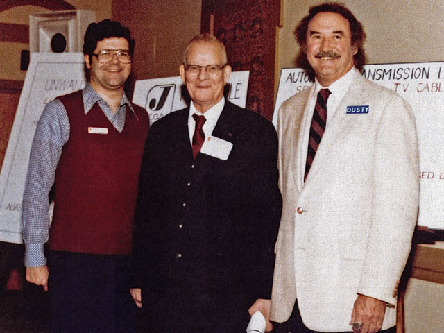 From left are John, quality guru W. Edwards Deming, and Dusty Fowlkes, from Value Analysis Inc. (VAI) at this 1981 Value Engineering seminar.