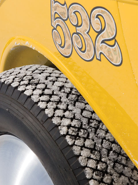 Another Bonneville trick is adjusting the tire height rather than changing pumpkins for top-end speed. The classic Moon discs cover 18-inch steel Taylor Made wheels built specially for land speed racing.