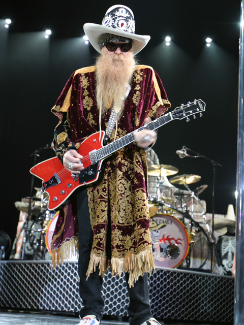 Billy F. Gibbons of ZZ Top doing his thang on stage.