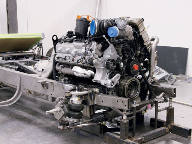 The core of this project is the engine, and it's a whopper! With 7 liters of displacement, that's 427 ci, and twin turbos, this massive V-8 produces 350 hp at 3,000 rpm, but 650 pounds of torque at 2,000 rpm! Coupled to the Allison five-speed transmission, the engine-and-trans combo weighs in at 1,500 pounds.