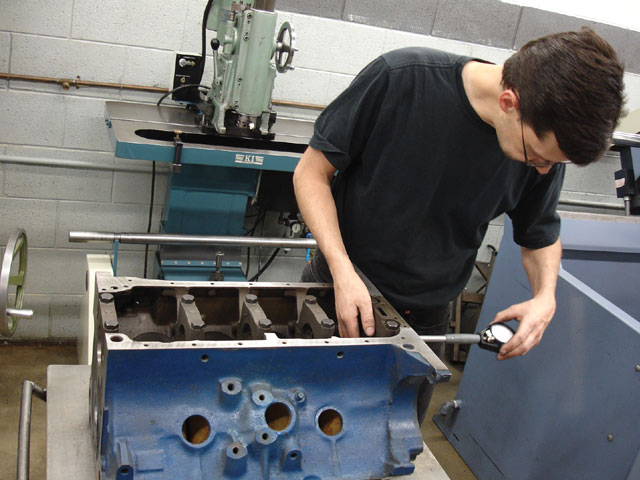 Bryan Hansen at R&R Performance measured the diameter and runout of the 390 block's main bearing bores. A straight machinist's bar was laid into the main saddle, and feeler gauges were used to see if any of the main bearing bores were out of alignment. The bores proved straight, but a check of the roundness with the dial bore gauge showed they were slightly egg shaped, so the block was align-honed.
