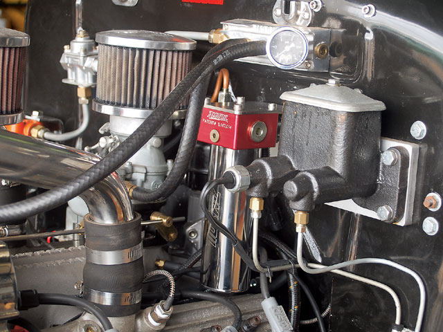 We installed an AMS-Oiler (Model AMK-02) on our Flathead-powered Model A. The compact AMSOIL unit is 4 inches wide and 8 inches long, and it can be located as much as to 6 feet away from the engine using the provided 1/4-inch, 500-psi hose; we chose to mount ours on the firewall.