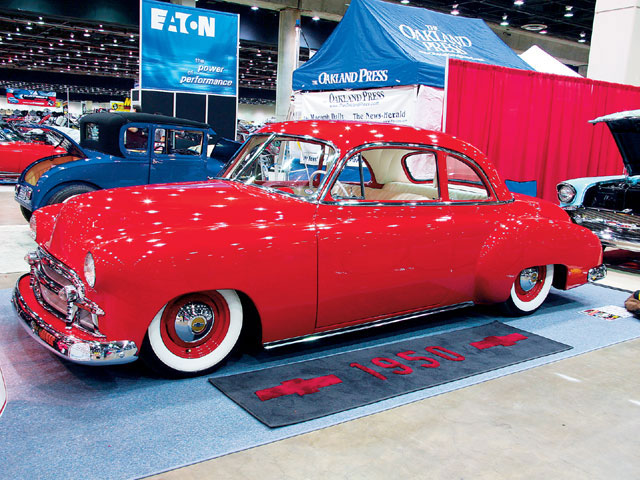 Low and lean, Paul Urbanczyk's '50 Chevy Business coupe looked great slammed to the ground. Though the exterior was shaved, frenched, and filled, the drivetrain featured a 216 straight-six with twin carburetion.