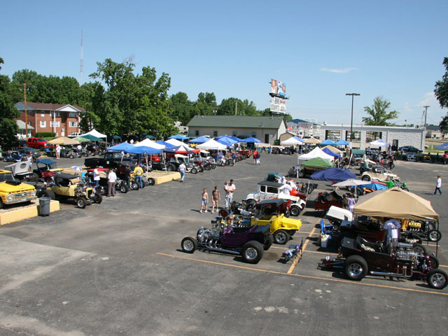 The parking lot of the host hotel in Springfield, IL, was the main gathering spot for more than 100 T-bucket owners who were in attendance for the three-day event.