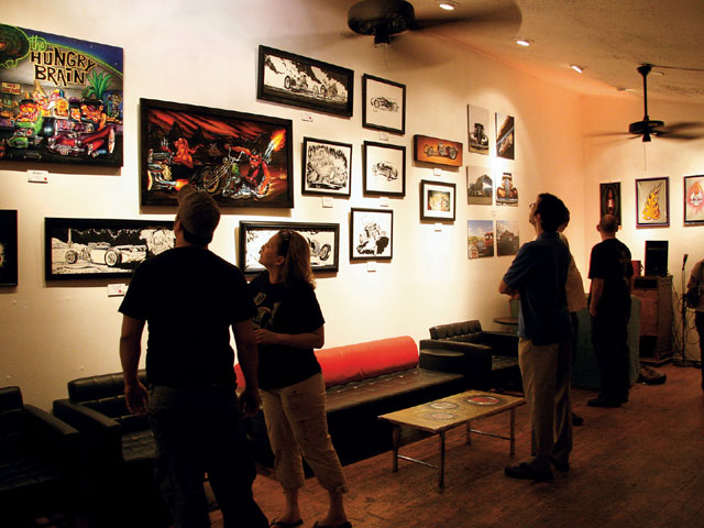 Upstairs and next to the Continental Club-Ground Zero for the parties and cruising during the event-is the Continental Gallery, home this particular weekend to a handful of hot rod artists.