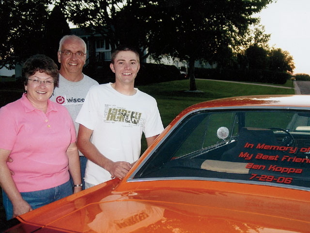 Ryan with Ben's parents, Jeff and Cathy. The Dart was built as a memorial to Ben after he passed away on July 29, 2006.