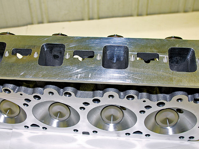 CNC porting ensures that each port is exactly the same as the others. This Legend head is turned up, revealing the exceptionally large intake ports. Indy's cylinder head design provides exceptional port volume for maximum horsepower.