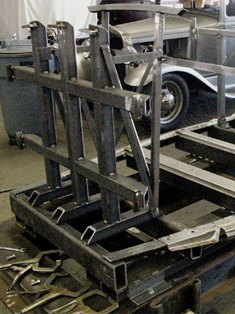 Bobby Walden is a perfectionist and has spent untold hours fabricating and refining a fixture that ensures that each and every chopped coupe he constructs is dead-nuts on. Here you can see Walden's fixture and the beginnings of a body (the side rails and floor supports).