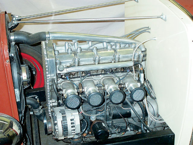 John Ehrlich's personal '30 Model A coupe features an injected Quad 4. You can see the resemblance to a '30s Offy engine.