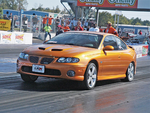 The late-model GTOs are perfect for a road trip to Memphis, and a number were seen on the track and in the car show arena as well. Here, Daniel Pharis' '06 GTO heats the hides in the LSX Index Showdown Class, but was also entered in the LSX True Street Class and in the LSX Car Show.