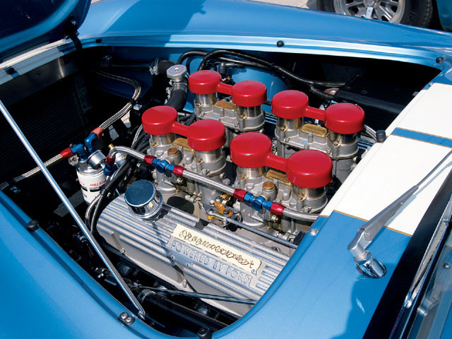 The small-block Ford mill that powers Kent Berry's 289FIA is fed with a quartet of Weber two-barrel carbs. Cool, daddy! Kent's car was also in the lead photo.