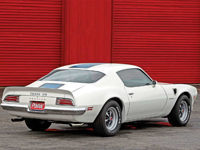 Only 2,116 Trans Ams were produced in '71: 885 with manual trans and 1,231, like this example, with a Turbo 400 automatic trans. All came with the 455 H.O. powerplant. Two exterior colors were available: Cameo White (code 11) or Lucerne Blue (code 26).