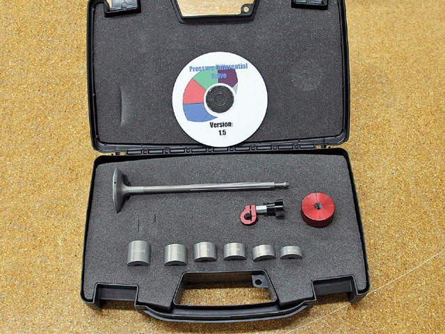 Here's the complete kit. It includes the namesake P-D Valve, a set of height standards, a locking collar, and a ball pin detent (to help you precisely and repeatably mark eight points as you spin the P-D Valve) and the necessary software.