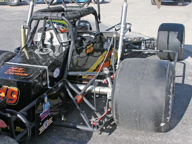 The right side offset of the MSA Supermodified. Having the car offset in this fashion significantly aids in getting through the corners quicker.