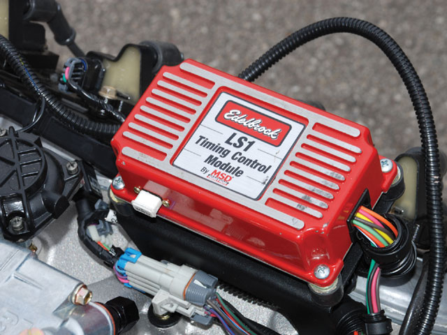 Carbureted Gen IV engines running without a distributor require an ignition controller like this Edelbrock MSD unit to translate the 58-tooth crank reluctor signal. GM's version is PN 19171130, which lists for $458.