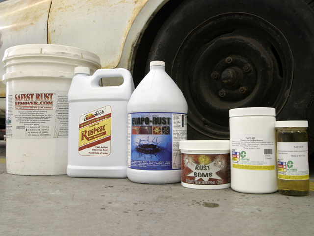 Here's our lineup of environmentally friendly chemical rust strippers. From left to right: Safest Rust Remover, Rust-eze, Evapo-Rust, Rust Bomb, and Cortec's VpCI-423 Rust Remover and accompanying VpCI-415 corrosion inhibitor.