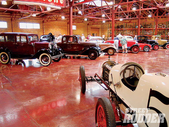 Part of the Coker tour included the newly refurbished area that houses the car and motorcycle collection. The building's original concrete floor has been ground smooth and polished.