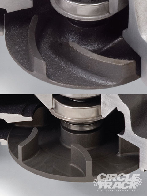 The Edelbrock Victor Pro 8819 water pump features a billet aluminum impeller with a revised impeller entry, as well as a larger design that produces greater pressure and volume. You can clearly see the difference between the stock impeller (top) and the race one. Courtesy of Edelbrock